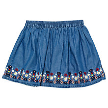 Buy Margherita Kids Girls' Embroidered Chambray Skirt, Blue Online at johnlewis.com