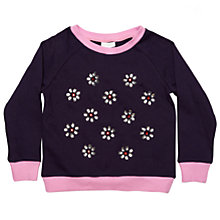 Buy Margherita Kids Girls' Jewelled Daisy Jumper, Eclipse/Multi Online at johnlewis.com
