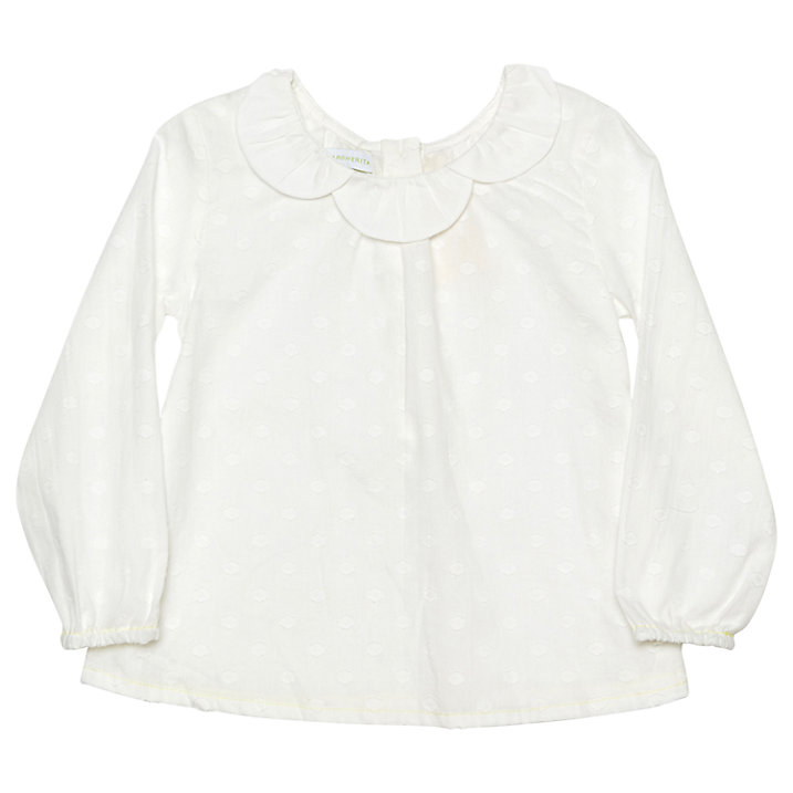 Buy Margherita Kids Girls' Daisy Collar Blouse, White, 3 years Online at johnlewis.com
