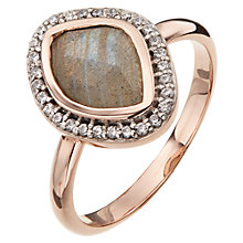 Buy John Lewis Gemstones Labradorite and Cubic Zirconia Pave Ring, Rose Gold/Sand Online at johnlewis.com