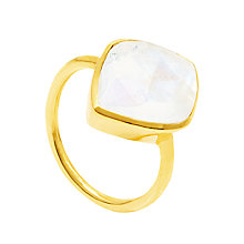 Buy Auren 18ct Gold Vermeil Moonstone Almond Ring, Gold/White Online at johnlewis.com