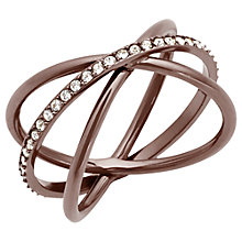 Buy Michael Kors Crossover Pavé Ring, Bronze Online at johnlewis.com