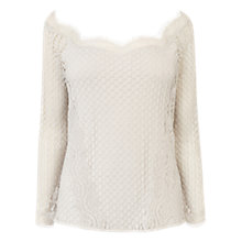 Buy Coast Jarina Lace Bardot Top, Silver Online at johnlewis.com