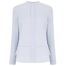 Buy Warehouse Stripe Ticking Grandad Shirt, Blue Online at johnlewis.com