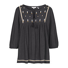 Buy Fat Face Embroidered Blouse, Phantom Online at johnlewis.com