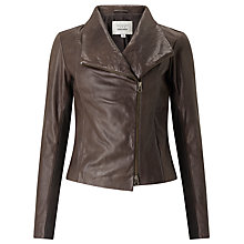 Buy Denim Wardrobe by Trilogy Crawford Leather Jacket, Brown Online at johnlewis.com