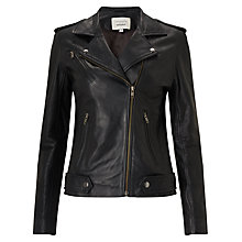 Buy Denim Wardrobe by Trilogy Bowery Biker Jacket, Black Online at johnlewis.com