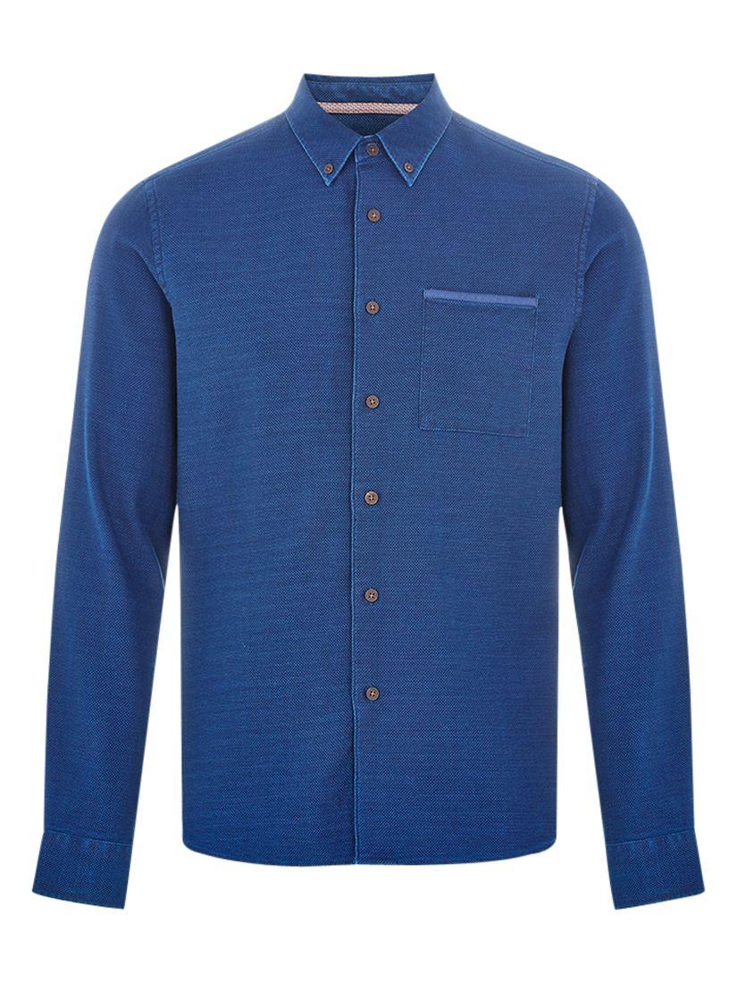 HYMN HYMN One Pocket Textured Shirt, Indigo