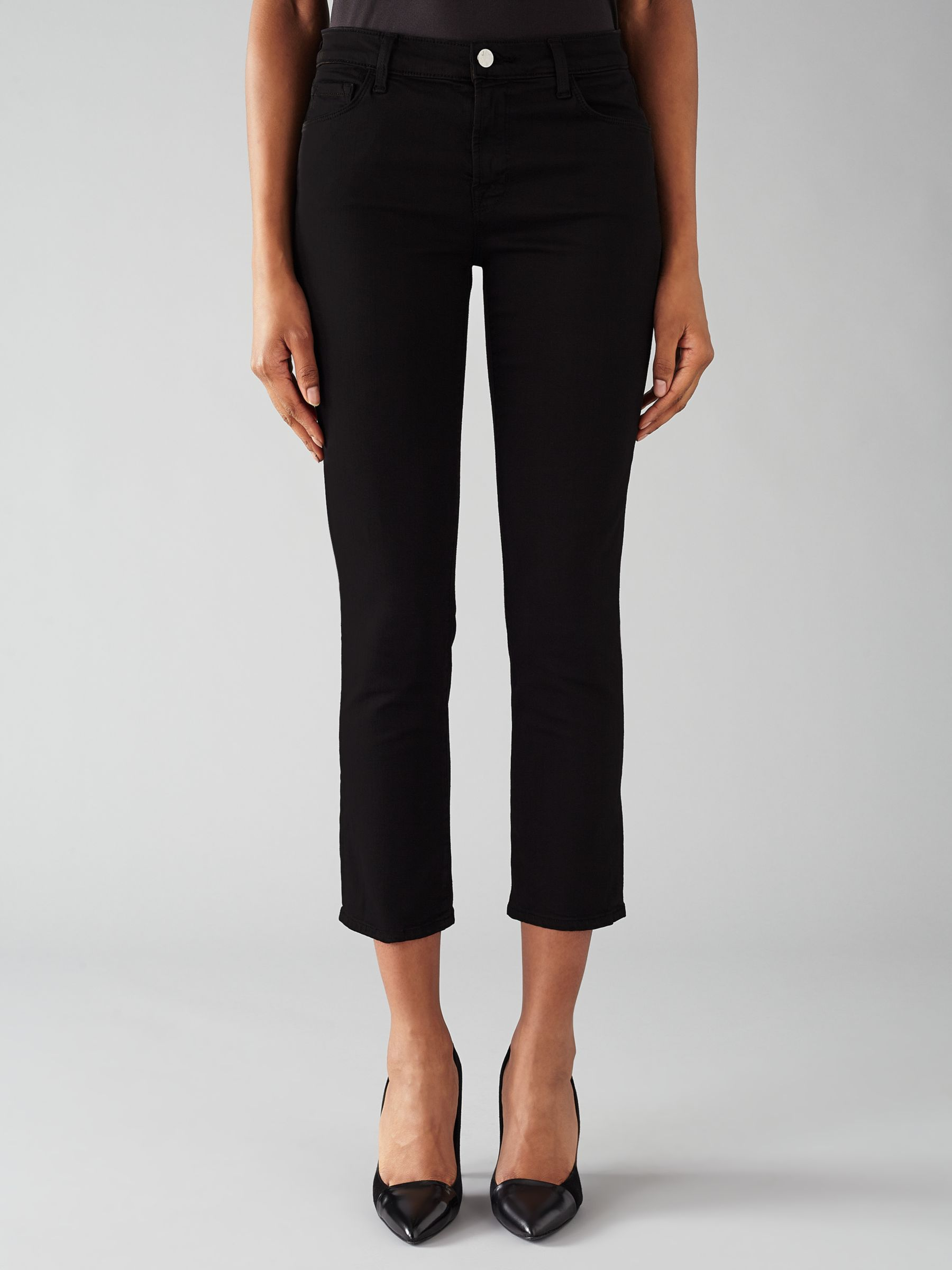 J Brand J Brand 8312 Cropped Flare Rail Jeans, Black