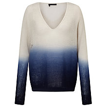 Buy 360 Sweater Larkin Dip Dye Cashmere Jumper, Navy/White Online at johnlewis.com
