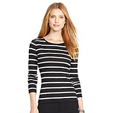 Buy Lauren Ralph Lauren Gacy Stripe Top, Black/Modern Cream Online at johnlewis.com