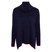 Buy Cocoa Cashmere Tipped Cowl Neck Cashmere Jumper, Navy/Dayglow Online at johnlewis.com