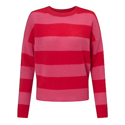 360 Sweater Sena Stripe Cashmere Jumper, Rouge/Shocking Pink