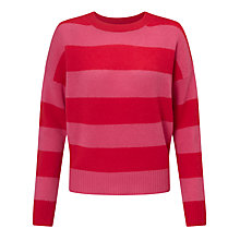 Buy 360 Sweater Sena Stripe Cashmere Jumper, Rouge/Shocking Pink Online at johnlewis.com