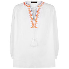 Buy Jaeger Embroidery Boho Blouse, White/Orange Online at johnlewis.com