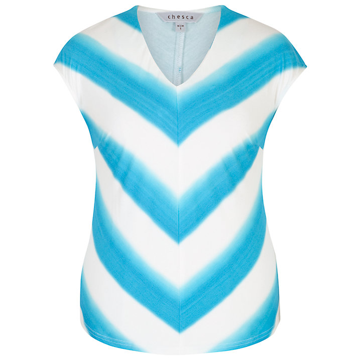 Buy Chesca Ombre Stripe Chevron Jersey Top, Ivory/Turquoise, 12-14 Online at johnlewis.com