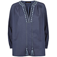 Buy Jaeger Embroidery Boho Blouse, Blue Online at johnlewis.com