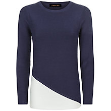 Buy Jaeger Colour Block Ribbed Sweater, Blue/White Online at johnlewis.com