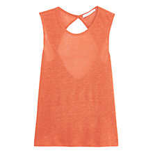 Buy Mango Strap Linen Top, Orange Online at johnlewis.com