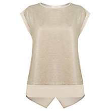 Buy Oasis Metallic Top, Gold Online at johnlewis.com