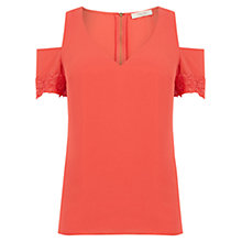Buy Oasis Lace Cuff Cold Shoulder Top, Mid Red Online at johnlewis.com