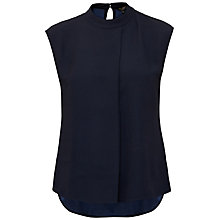 Buy Ted Baker Vaniah Dropped Hem Pleated Top, Navy Online at johnlewis.com