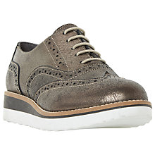 Buy Dune Wide Fit Farli Flatform Brogues, Pewter Metallic Online at johnlewis.com
