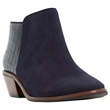 Buy Dune Wide Fit Parrs Block Heeled Ankle Boots, Navy Online at johnlewis.com