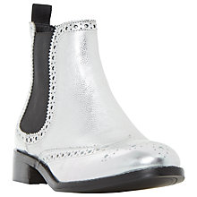 Buy Dune Quenton Brogue Chelsea Boots, Metallic Online at johnlewis.com