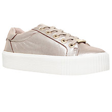 Buy Carvela Lindon Flatform Low Top Trainers, Gold Online at johnlewis.com