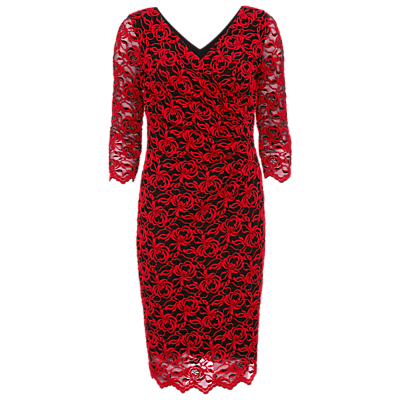 Gina Bacconi 3D Embroidered Net Dress, Black/Red