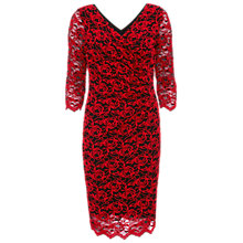 Buy Gina Bacconi 3D Embroidered Net Dress, Black/Red Online at johnlewis.com