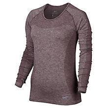 Buy Nike Dri-FIT Knit Long Sleeve Running Top, Purple Online at johnlewis.com