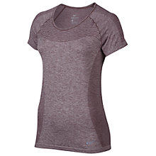 Buy Nike Dri-FIT Knit Short Sleeve Running Top, Purple Shade/Plum Fog Online at johnlewis.com