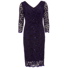 Buy Gina Bacconi Floral Sequin Scallop Dress, Aubergine Online at johnlewis.com