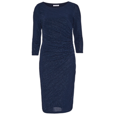 Gina Bacconi 3D Metallic Stripe Knitted Dress, Dark Blue