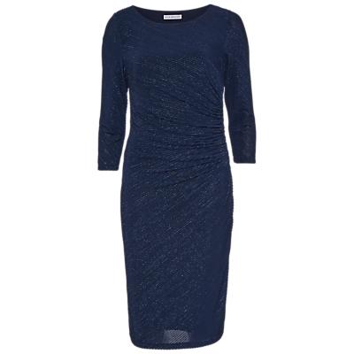 Gina Bacconi 3D Metallic Stripe Knitted Dress, Dark Blue