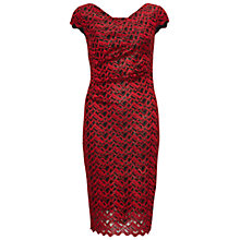 Buy Gina Bacconi Zig Zag Sparkle Lace Dress, Red/Black Online at johnlewis.com