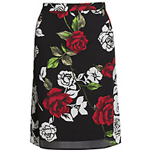Buy Gina Bacconi Rose Modern Crepe Georgette Skirt, Black/Red Online at johnlewis.com