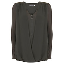 Buy Mint Velvet Double Layer Blouson Top, Green Online at johnlewis.com
