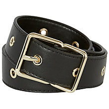 Buy Karen Millen Soft Eyelet Leather Jeans Belt, Black Online at johnlewis.com