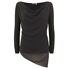 Buy Mint Velvet Asymmetric Double Layer Top, Khaki Online at johnlewis.com