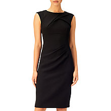 Buy Adrianna Papell Crepe Tuck Detail Sheath Dress, Black Online at johnlewis.com