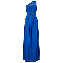 Buy Adrianna Papell One Shoulder Shirred Tulle Gown, Royal Blue Online at johnlewis.com