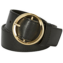 Buy Karen Millen Lux Round Buckle Leather Belt, Black Online at johnlewis.com