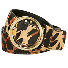 Buy Karen Millen Lux Round Buckle Leather Belt, Leopard Print Online at johnlewis.com