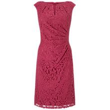 Buy Adrianna Papell Pleated Side Drape Lace Sheath Dress, Crushed Berry Online at johnlewis.com