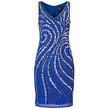 Buy Adrianna Papell Sleeveless Beaded Cocktail Dress, Electric Blue Online at johnlewis.com