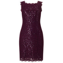 Buy Adrianna Papell Lace And Sequin Shift Dress, Mulberry Online at johnlewis.com