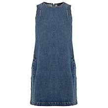 Buy Warehouse Side Button Dress, Mid Wash Denim Online at johnlewis.com